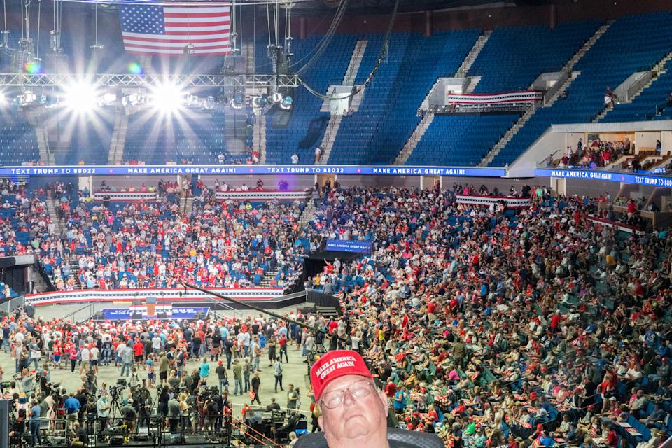 """Trump rally attendees wait for the President to arrive at the BOK Center in Tulsa, Okla., on June 20<span class=""""copyright"""">Peter van Agtmael—Magnum Photos for TIME</span>"""