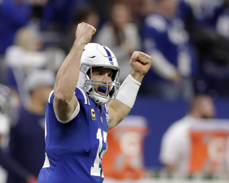 Indianapolis Colts quarterback Andrew Luck celebrates after throwing a 68-yard touchdown pass to T.Y. Hilton during the first half of an NFL football game against the Tennessee Titans, Sunday, Nov. 18, 2018, in Indianapolis. (AP Photo/Michael Conroy)
