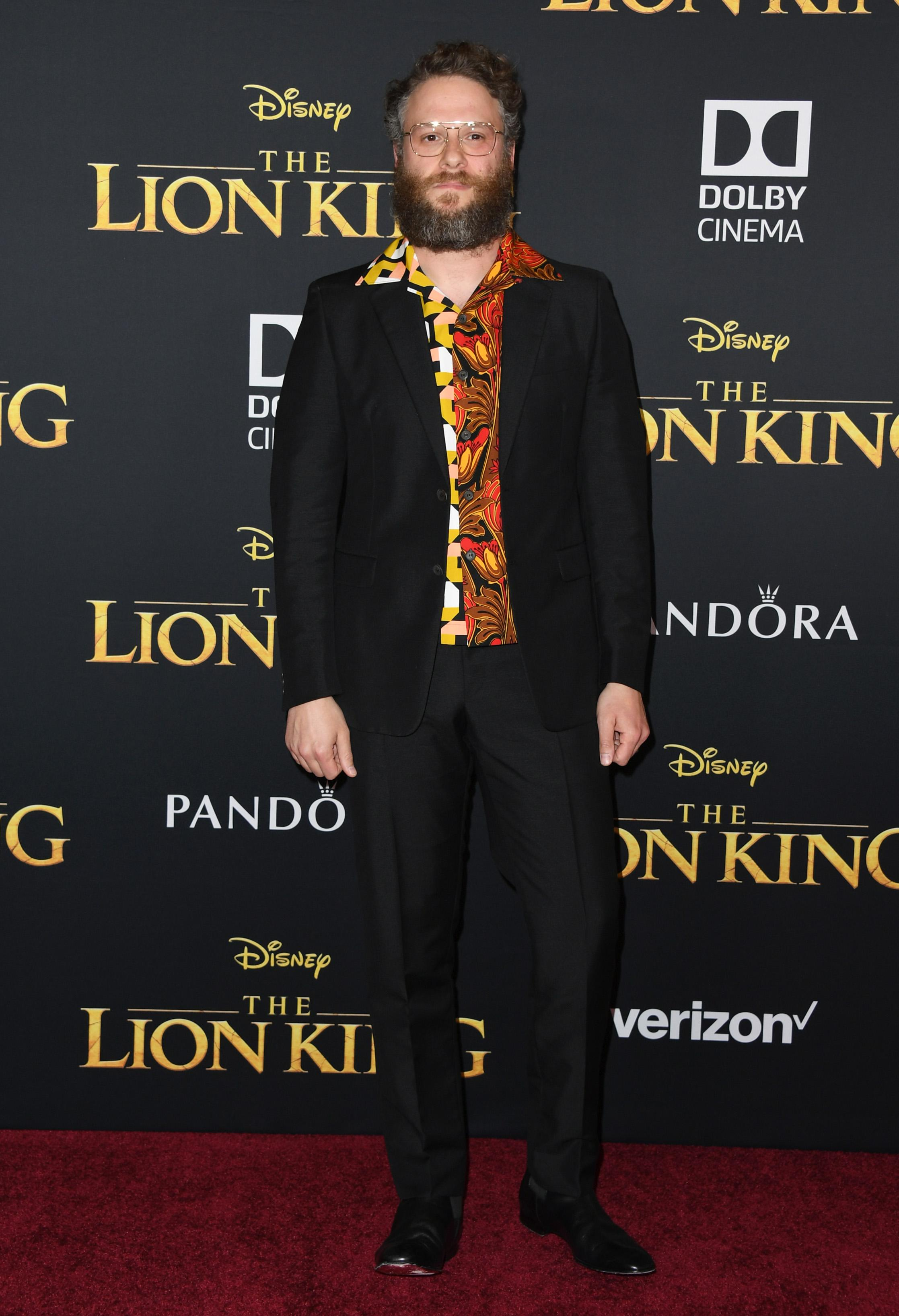 "HOLLYWOOD, CALIFORNIA - JULY 09: Seth Rogen attends the Premiere Of Disney's ""The Lion King"" at Dolby Theatre on July 09, 2019 in Hollywood, California. (Photo by Jon Kopaloff/FilmMagic)"