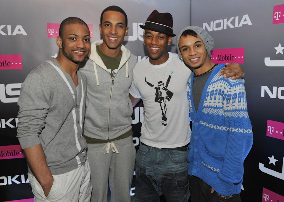 (EXCLUSIVE, Premium Rates Apply) LONDON, ENGLAND - FEBRUARY 13:  (L-R) Jonathan 'JB' Gill, Marvin Humes, Ortise Williams and Aston Merrygold  backstage as JLS perform live for NOKIA Comes with Music and T-Mobile concert at HMV Hammersmith Apollo on February 13, 2010 in London, England.  (Photo by Jon Furniss/WireImage)