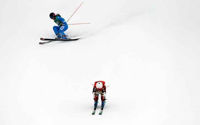 """Freestyle Skiing - Pyeongchang 2018 Winter Olympics - Women's Ski Cross Finals - Phoenix Snow Park - Pyeongchang, South Korea - February 23, 2018 - Brittany Phelan of Canada and Debora Pixner of Italy compete. REUTERS/Issei Kato SEARCH """"OLYMPICS BEST"""" FOR ALL PICTURES. TPX IMAGES OF THE DAY."""