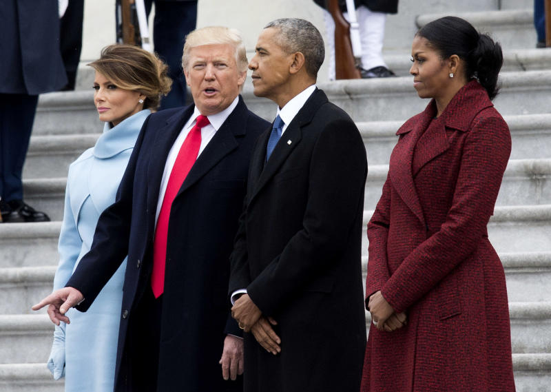 WASHINGTON, DC - JANUARY 20: President Donald Trump (2nd-L) First Lady Melania Trump (L), former President Barack Obama (2nd-R) and former First Lady Michelle Obama walk together following the inauguration, on Capitol Hill in Washington, D.C. on January 20, 2017. President-Elect Donald Trump was sworn-in as the 45th President. (Photo by Kevin Dietsch - Pool/Getty Images)