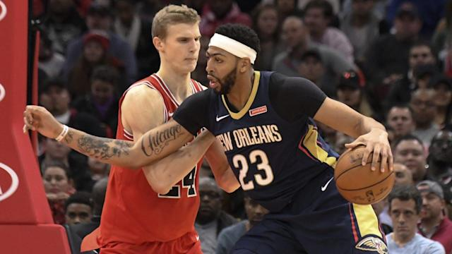 "<a class=""link rapid-noclick-resp"" href=""/nba/players/5007/"" data-ylk=""slk:Anthony Davis"">Anthony Davis</a> casts a long shadow over the NBA trade market. (AP)"