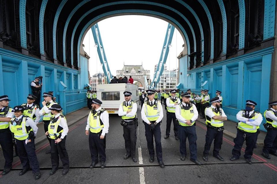 Police on Tower Bridge after members of Extinction Rebellion blocked the road (PA) (PA Wire)