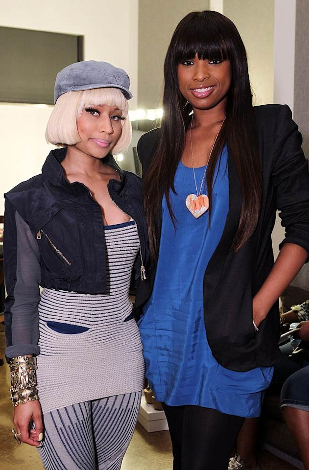 """Sporting a bobbed blond wig, rapper Nicki Minaj -- who performed at the soiree -- posed with pal Jennifer Hudson. Chris Weeks/<a href=""""http://www.wireimage.com"""" target=""""new"""">WireImage.com</a> - May 12, 2011"""