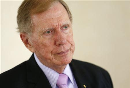 Chairperson of the Commission of Inquiry on Human Rights in North Korea Michael Kirby pauses during an interview with Reuters in Geneva February 17, 2014. REUTERS/Denis Balibouse