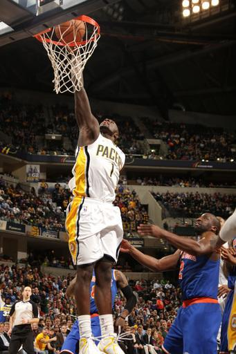 INDIANAPOLIS, IN - FEBRUARY 20: Lance Stephenson #1 of the Indiana Pacers goes to the basket during the game between the Indiana Pacers and the NewYork Knicks on February 20, 2013 at Bankers Life Fieldhouse in Indianapolis, Indiana. (Photo by Ron Hoskins/NBAE via Getty Images)