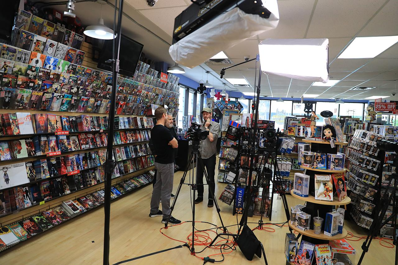 <p>Yahoo News looks all prepared for Katie Couric's interview with actress Gal Gadot at the Midtown Comics in New York City on May 23, 2017. (Gordon Donovan/Yahoo News) </p>