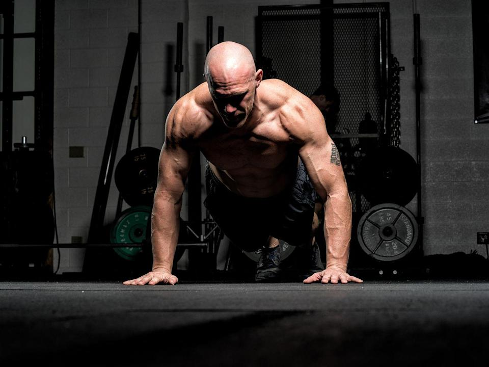 <p><strong>You'll need: Floor space</strong><br></p><p>The workout uses the EMOM protocol, which means that you'll perform a prescribed number of reps for every minute during a fixed period of time. In this case, you'll be tasked to complete 12 reps of two exercises, each minute, for 10 total minutes. Once you're done, you'll have finished 240 reps—if you can fit them all in before the timer dings for the next round. And that's a big if.</p><p>Complete 12 reps of each exercise, every minute on the minute, for 10 minutes.<strong><br><br>Press-ups<br>Split Jumps</strong></p>