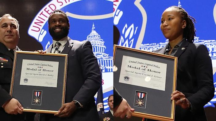Capitol police officers Crystal Griner and David Bailey receive Medal of Honor. (Photo: Getty Images)