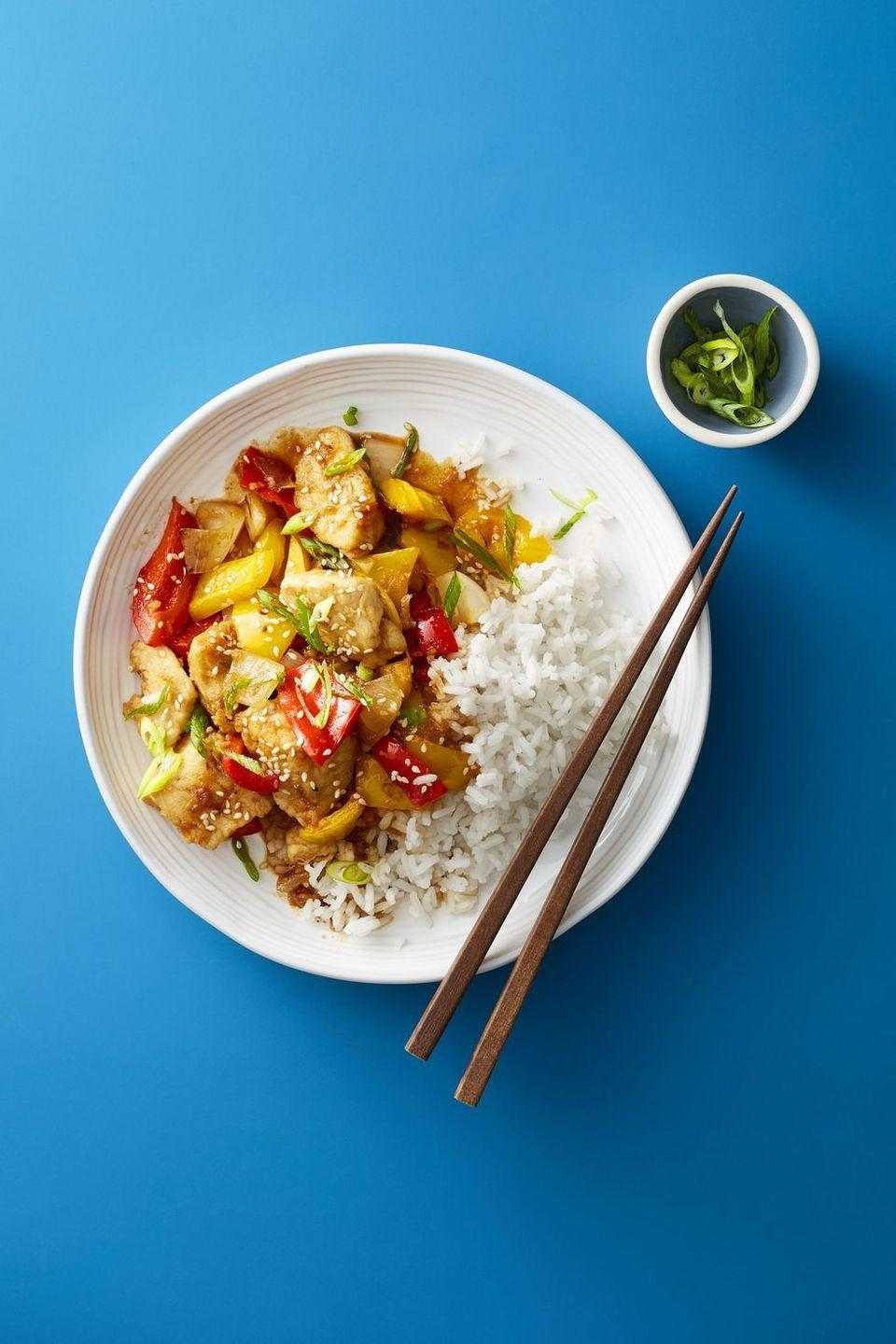 """<p>Skip takeout and opt for this kid-friendly (and veggie-packed!) stir-fry instead.</p><p><em><a href=""""https://www.goodhousekeeping.com/food-recipes/easy/a47684/sesame-chicken-stir-fry-recipe/"""" rel=""""nofollow noopener"""" target=""""_blank"""" data-ylk=""""slk:Get the recipe for Sesame Chicken Stir-Fry »"""" class=""""link rapid-noclick-resp"""">Get the recipe for Sesame Chicken Stir-Fry »</a></em></p><p><strong>RELATED:</strong> <a href=""""https://www.goodhousekeeping.com/food-recipes/easy/g755/chicken-breast-recipes/"""" rel=""""nofollow noopener"""" target=""""_blank"""" data-ylk=""""slk:60+ Chicken Breast Recipes That Are Anything But Boring"""" class=""""link rapid-noclick-resp"""">60+ Chicken Breast Recipes That Are Anything But Boring</a></p>"""