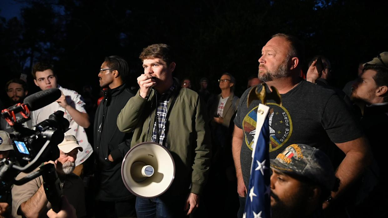 Beardson Beardly has been linked with far-right commentator Nick Fuentes (centre), pictured here at a 'Stop the Steal' rally. (Zach Roberts/NurPhoto via Getty Images)