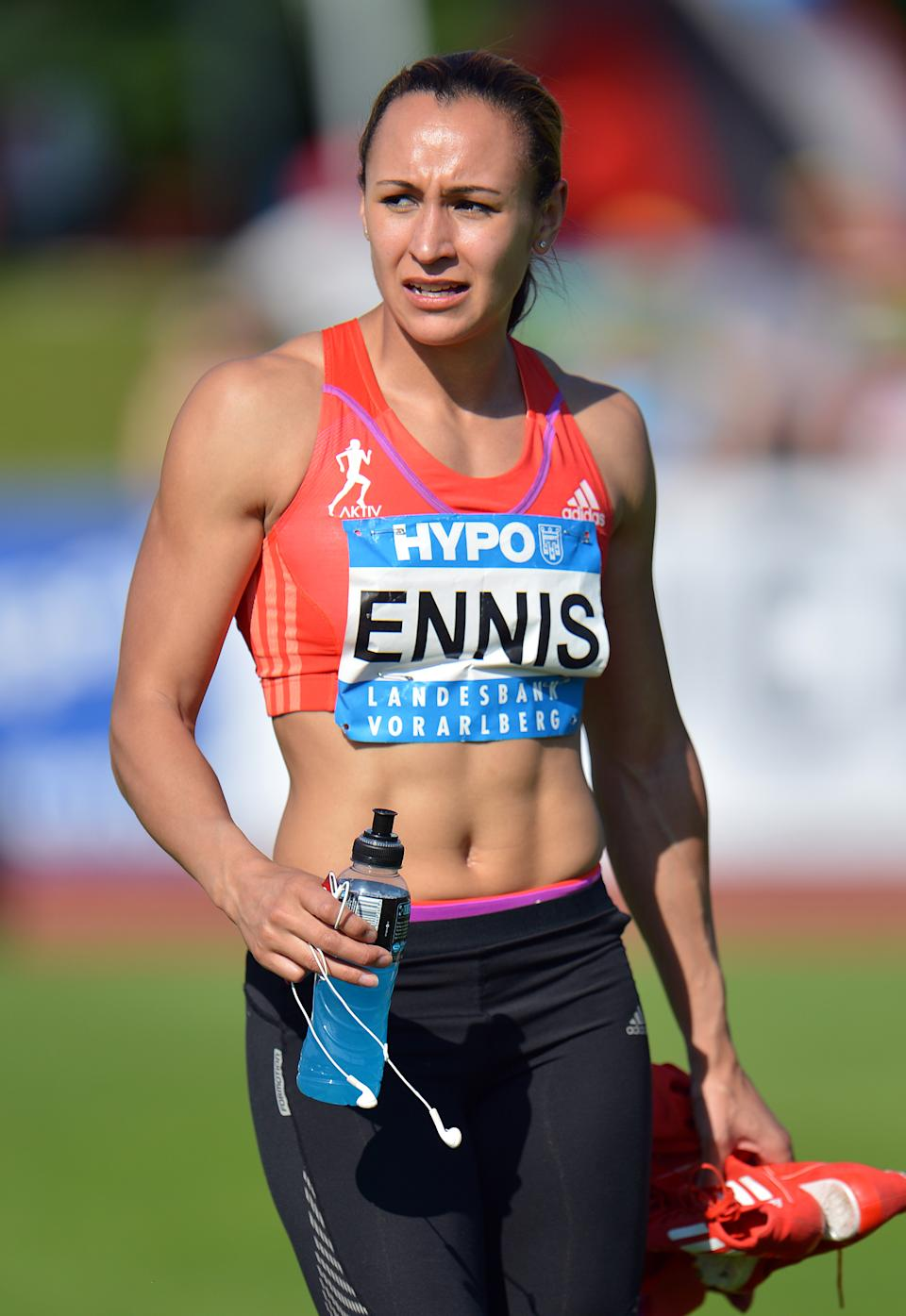 Great Britian's Jessica Ennis leaves the stadium after the 200-meter race at the women's heptathlon at the Hypo Meeting in Goetzis, Austria, on Saturday, May 26, 2012. (AP Photo/Kerstin Joensson)