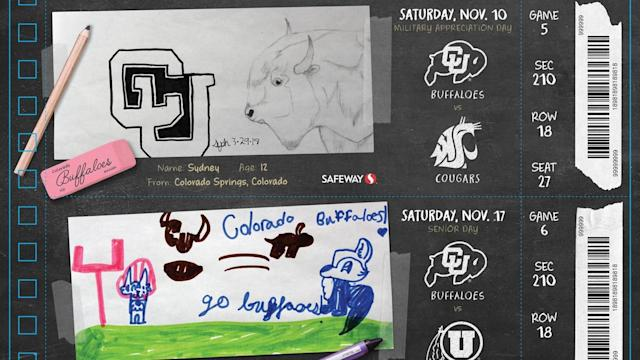 Ahead of the 2018 season, Children's Hospital Colorado patients drew season ticket designs. (Photo via Colorado Athletics)