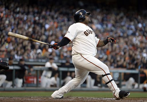 San Francisco Giants' Pablo Sandoval watches his two-run home run off San Diego Padres' Andrew Cashner in the fourth inning of a baseball game Saturday, April 20, 2013, in San Francisco. (AP Photo/Ben Margot)