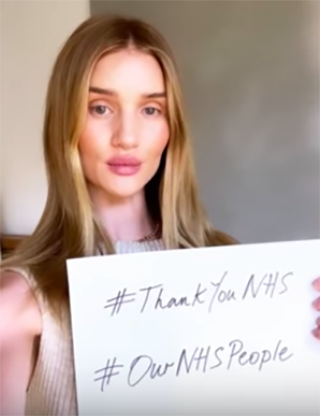 """<p>More than 70 models, actors, athletes and singers across the globe just took part in a YouTube video to thank the NHS for their hard work during Covid-19. </p><p>The likes of David Beckham, Rosie Huntington-Whiteley, Phoebe Waller Bridge and Kylie Minogue took part in a video for NHS England, holding up signs with the hashtag #ThankYouNHS and #OurNHSPeople. </p><p>The video was posted on the same evening when people around the UK opened their videos to take part in the Clap For Carers initiative. </p><p><a class=""""body-btn-link"""" href=""""https://www.youtube.com/watch?v=H2NzBVk3EUs"""" target=""""_blank"""">WATCH THE VIDEO</a></p>"""