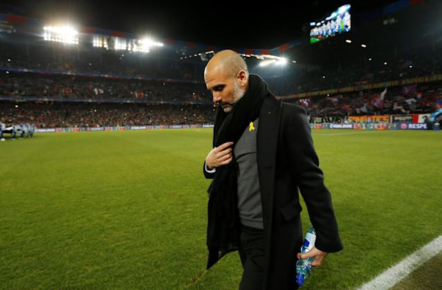 Soccer Football - Champions League - Basel vs Manchester City - St. Jakob-Park, Basel, Switzerland - February 13, 2018 Manchester City manager Pep Guardiola before the match Action Images via Reuters/Andrew Boyers