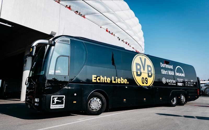 The team bus of Borussia Dortmund arrives prior to the Bundesliga match between Bayern Muenchen and Borussia Dortmund at Allianz Arena on April 8, 2017 in Munich, Germany - Credit: Alexander Scheuber/Getty