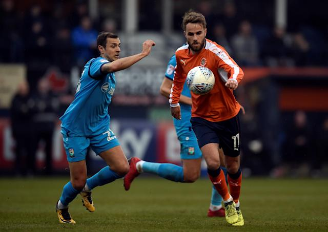 "Soccer Football - League Two - Luton Town vs Barnet - Kenilworth Road, Luton, Britain - March 24, 2018 Luton Town's Andrew Shinnie in action with Barnet's Alex Nicholls Action Images/Adam Holt EDITORIAL USE ONLY. No use with unauthorized audio, video, data, fixture lists, club/league logos or ""live"" services. Online in-match use limited to 75 images, no video emulation. No use in betting, games or single club/league/player publications. Please contact your account representative for further details."