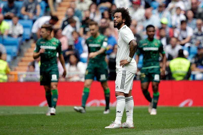 MADRID, SPAIN - MAY 19: Marcelo of Real Madrid during the La Liga Santander match between Real Madrid v Real Betis Sevilla at the Santiago Bernabeu on May 19, 2019 in Madrid Spain (Photo by David S. Bustamante/Soccrates/Getty Images)