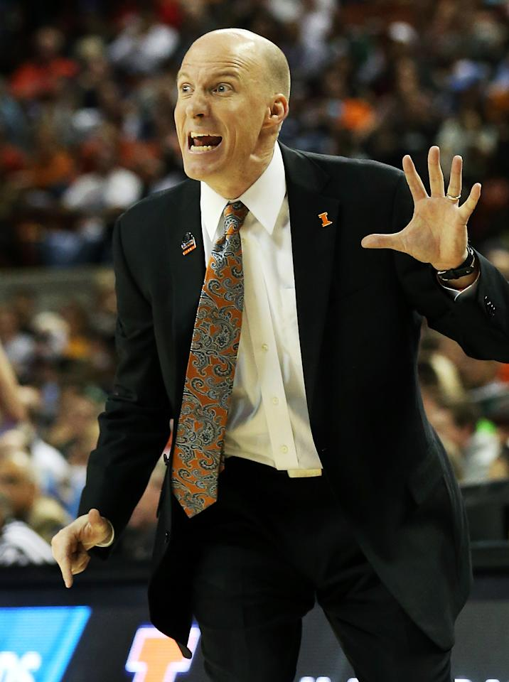 Head coach John Groce of the Illinois Fighting Illini reacts in the first half against the Miami Hurricanes during the third round of the 2013 NCAA Men's Basketball Tournament at The Frank Erwin Center on March 24, 2013 in Austin, Texas.  (Photo by Stephen Dunn/Getty Images)