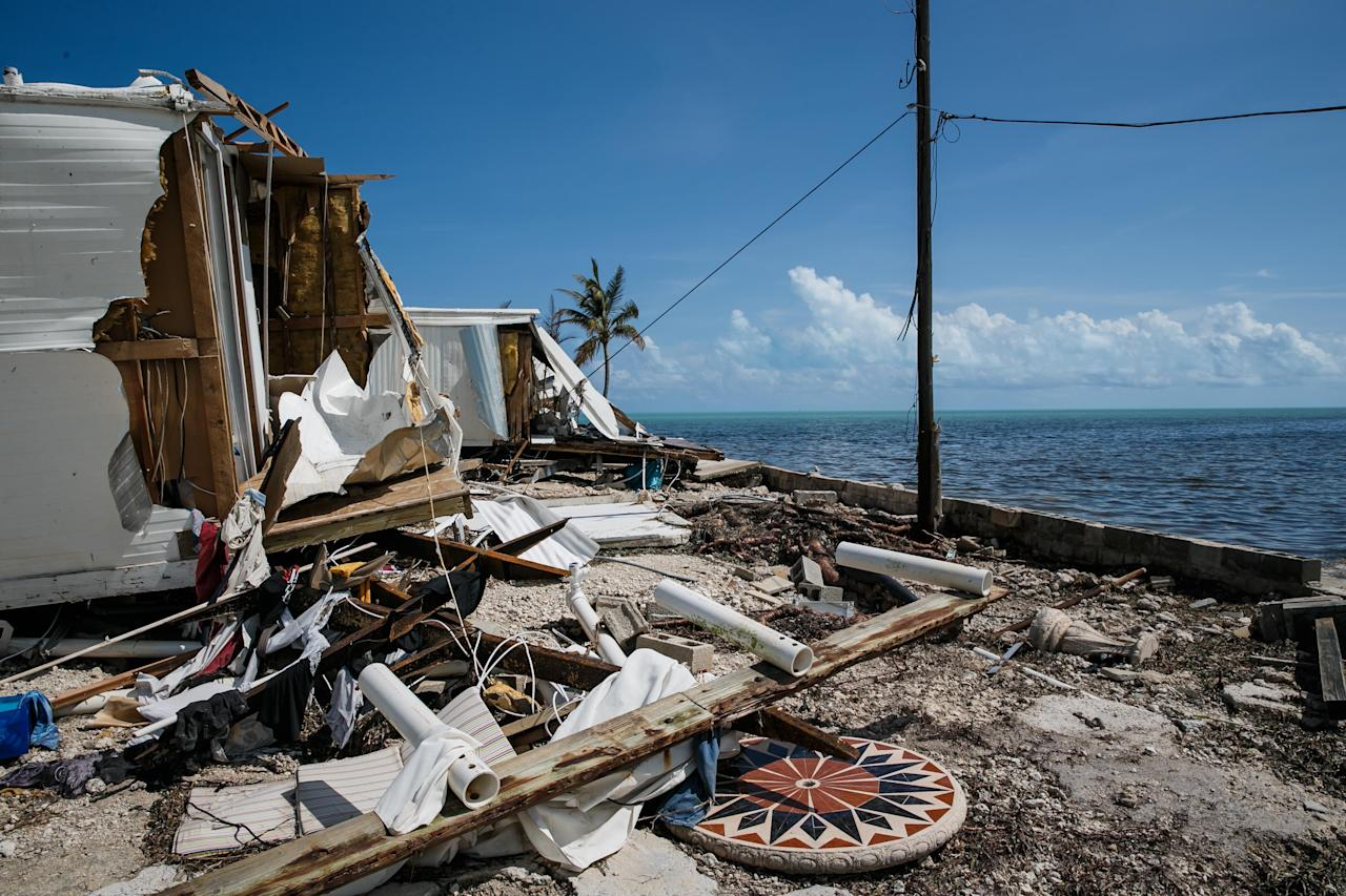 <p>Trailer homes at the Sea Breeze trailer park are destroyed in the path of Hurricane Irma, in Islamorada, Florida Keys, on Sept. 12, 2017. (Photo: Marcus Yam/Los Angeles Times via Getty Images) </p>