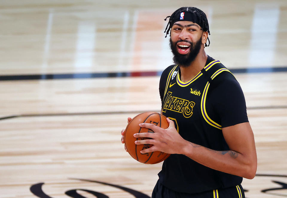 Lakers big man Anthony Davis has reason to smile in his first NBA Finals appearance. (Kevin C. Cox/Getty Images)