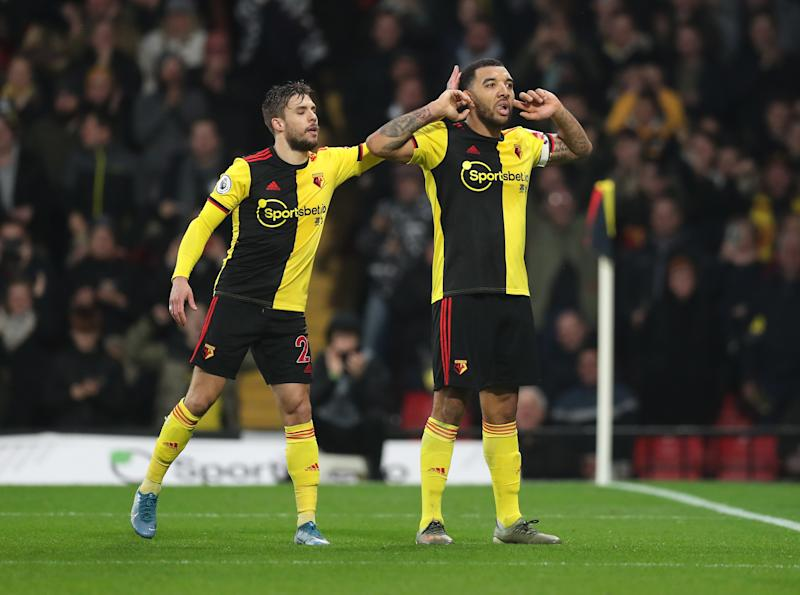 WATFORD, ENGLAND - DECEMBER 28: Troy Deeney of Watford celebrates after scoring his sides first goal during the Premier League match between Watford FC and Aston Villa at Vicarage Road on December 28, 2019 in Watford, United Kingdom. (Photo by Alex Morton/Getty Images)