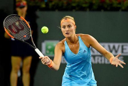 Mar 17, 2017; Indian Wells, CA, USA; Kristina Mladenovic (FRA) in her semi final match against Elena Vesnina (RUS) at the BNP Paribas Open at the Indian Wells Tennis Garden. Mandatory Credit: Jayne Kamin-Oncea-USA TODAY Sports
