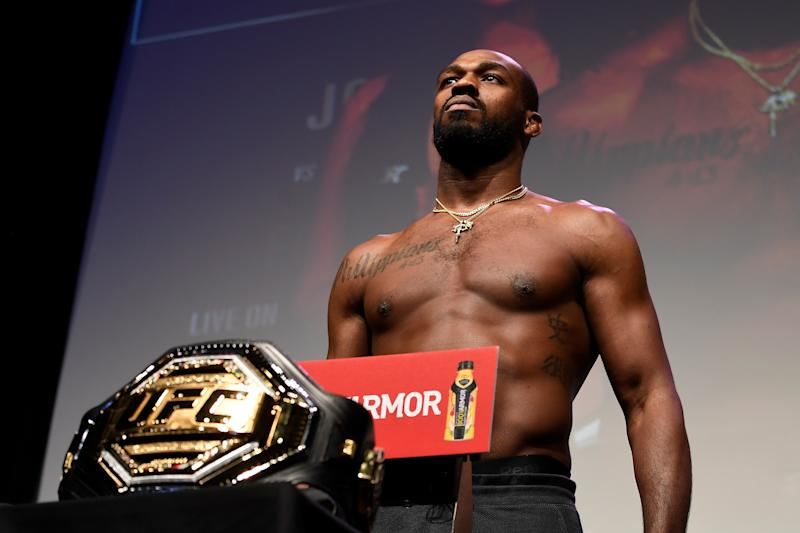 HOUSTON, TX - FEBRUARY 07: Jon Jones poses on the scale during the UFC 247 ceremonial weigh-in at the Toyota Center on February 7, 2020 in Houston, Texas. (Photo by Mike Roach/Zuffa LLC via Getty Images)
