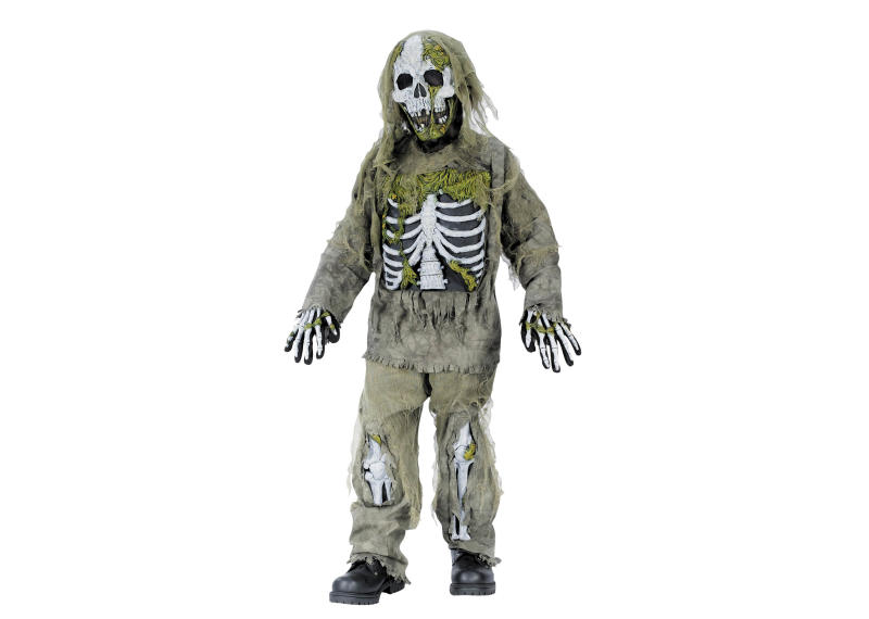 """This undated product image released by Part City shows a boys skeleton zombie costume. Catering to the popular zombie craze, Halloween costumes for young children are getting more grisly. Even costumes that were once benign now have violent twists: The sweet, simple """"sock monkey"""" is now a bloody zombie sock monkey with razor-sharp teeth, sold in sizes small enough for kindergartners. (AP Photo/Party City)"""