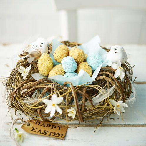 """<p>A delicious Easter treat that all the family will love. </p><p><strong>Recipe: <a href=""""https://www.goodhousekeeping.com/uk/food/recipes/white-chocolate-and-hazelnut-egg-truffles"""" rel=""""nofollow noopener"""" target=""""_blank"""" data-ylk=""""slk:White chocolate and hazelnut egg truffles"""" class=""""link rapid-noclick-resp"""">White chocolate and hazelnut egg truffles</a> and <a href=""""https://www.goodhousekeeping.com/uk/food/recipes/salty-chocolate-egg-truffles"""" rel=""""nofollow noopener"""" target=""""_blank"""" data-ylk=""""slk:Salty chocolate egg truffles"""" class=""""link rapid-noclick-resp"""">Salty chocolate egg truffles</a></strong><br><br><br> </p>"""