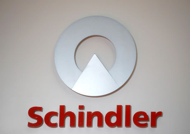 Logo of Swiss elevator maker Schindler is seen in Zurich