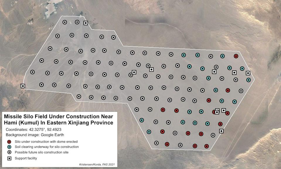 The scientists' graphic showing where they expect future silos could be built on the site (FAS)