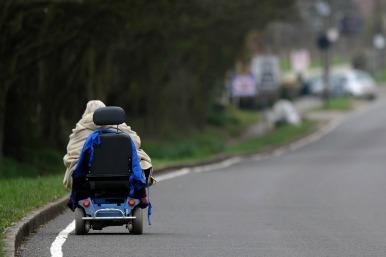 Mobility scooter on road