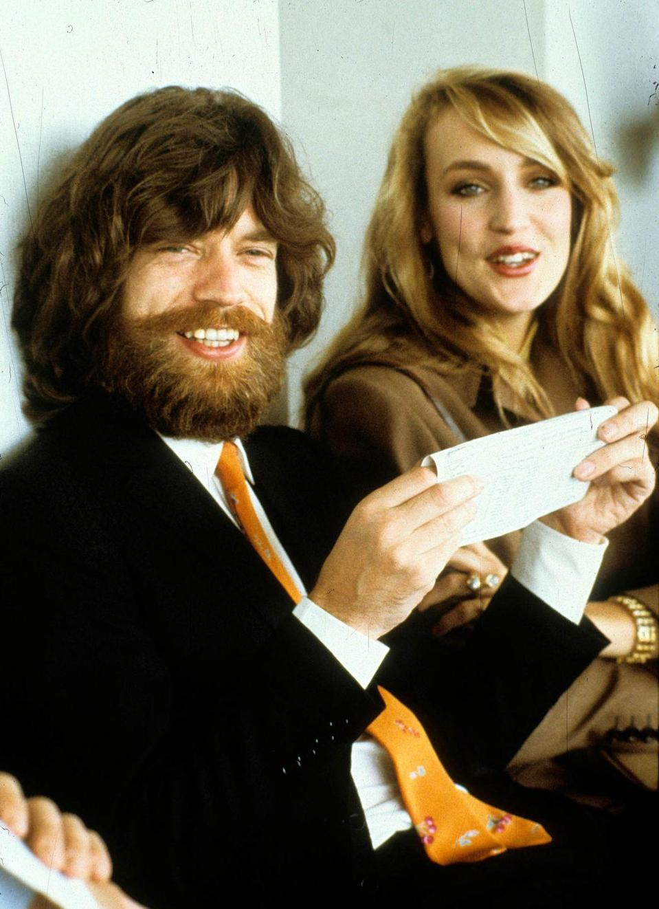 <p>Mick Jagger and model Jerry Hall are seen in 1979 in Paris, France.</p>