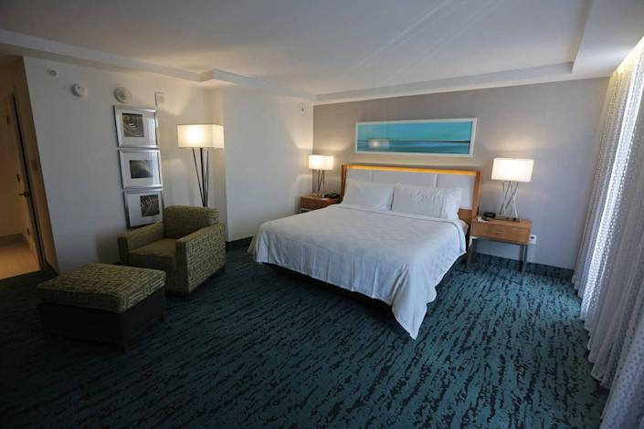 An Executive King room at the new Holiday Inn in Liberty City at 7927 NW Seventh Ave. The hotel, which stood vacant and was an eyesore for the community for many years, has been renovated into a new and modern Holiday Inn.