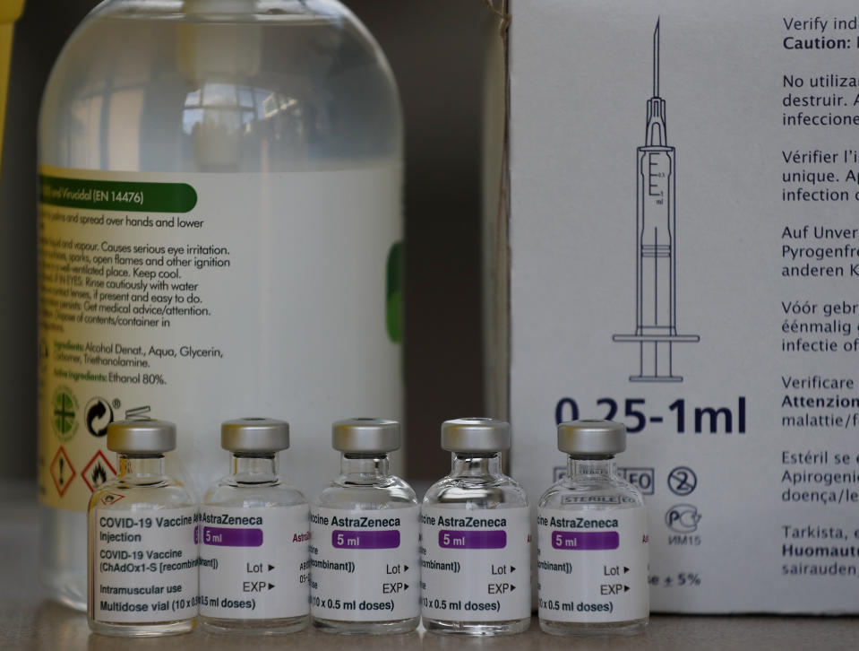 AstraZeneca vaccine ready to be used at the Wellcome Centre in Ilford, east London, Friday, Feb. 5, 2021. (AP Photo/Frank Augstein)