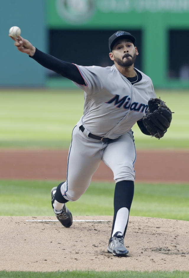 Miami Marlins starting pitcher Pablo Lopez delivers in the first inning of a baseball game against the Cleveland Indians, Tuesday, April 23, 2019, in Cleveland. (AP Photo/Tony Dejak)