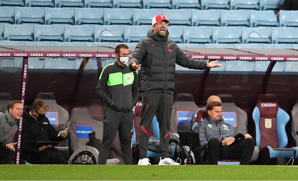 Klopp appears frustrated on the touchline at Villa ParkGetty