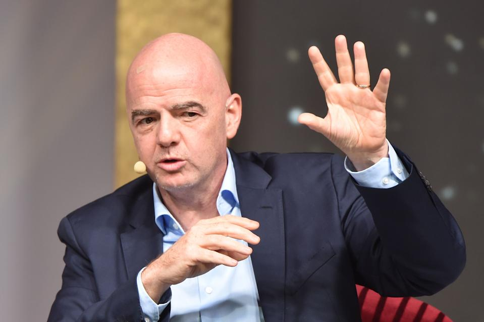 FIFA president Gianni Infantino hinted a salary cap could be coming to world soccer. (Photo by ATTILA KISBENEDEK/AFP via Getty Images)