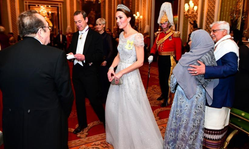 The Duchess of Cambridge wore the Lover's Knot tiara at the queen's annual diplomatic corps reception. (Photo: PA)