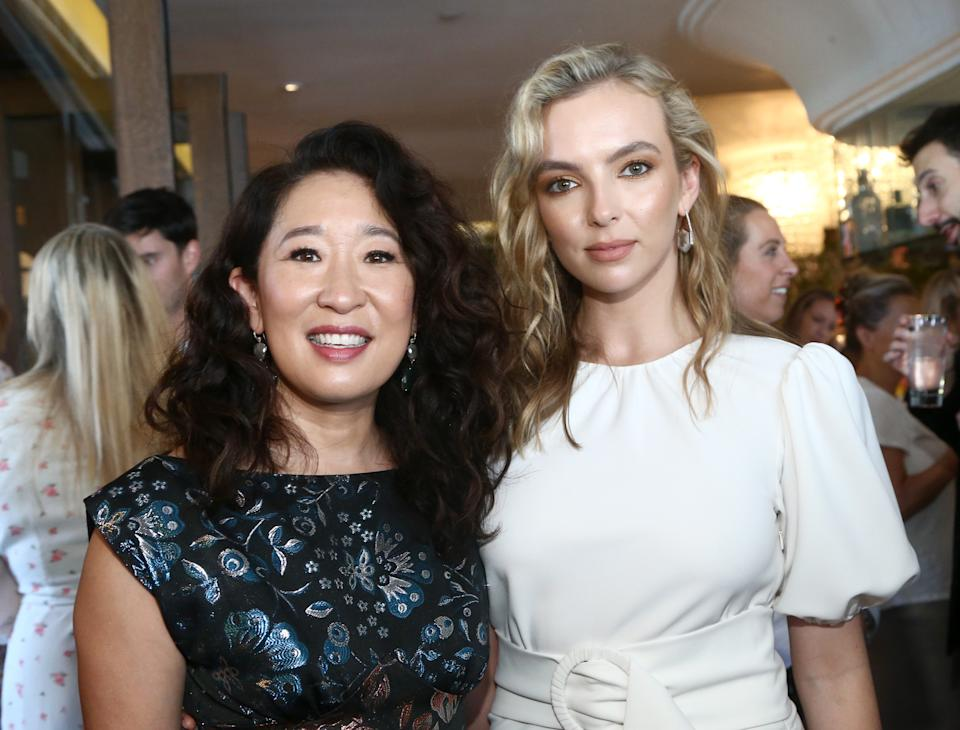 WEST HOLLYWOOD, CALIFORNIA - SEPTEMBER 21: Sandra Oh and Jodie Comer attend AMC Emmy Brunch 2019  on September 21, 2019 in West Hollywood, California. (Photo by Tommaso Boddi/Getty Images for AMC)