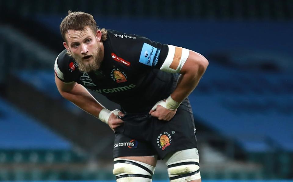 Jonny Hill of Exeter Chiefs looks on during the Gallagher Premiership Rugby final match between Exeter Chiefs and Wasps at Twickenham Stadium on October 24 - GETTY IMAGES