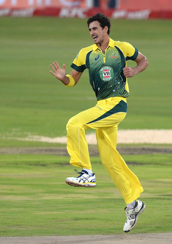 CENTURION, SOUTH AFRICA - MARCH 14: Mitchell Staec of Australia celebrates the wicket of Hashim Amla for 2 runs during the 3rd KFC T20 International match between South Africa and Australia at SuperSport Park on March 14, 2014 in Centurion, South Africa. (Photo by Duif du Toit/Gallo Images/Getty Images)
