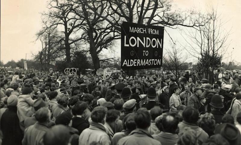 Aldermaston marchers arrive at the Atomic Weapons Establishment (AWE) on Easter Monday 1958.