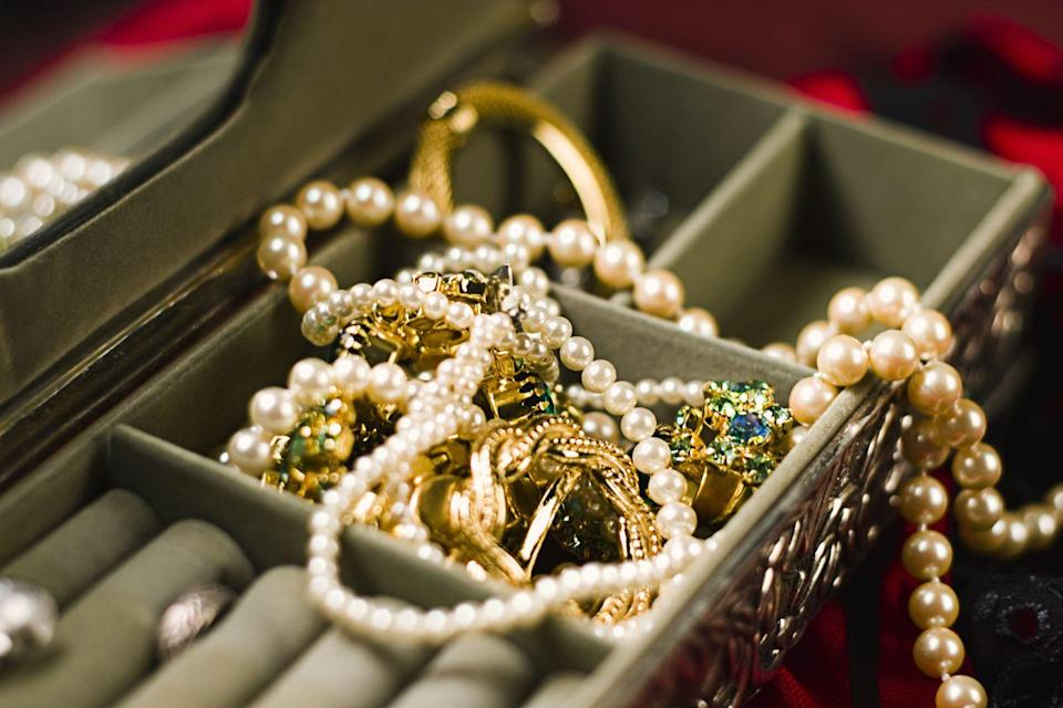 <p>No matter what a tangled mess that old jewelry in your basement is in, take the time to see if any gold pieces are mixed up in it. Even if you don't want to wear it, you can always sell gold at a pawn shop.</p>