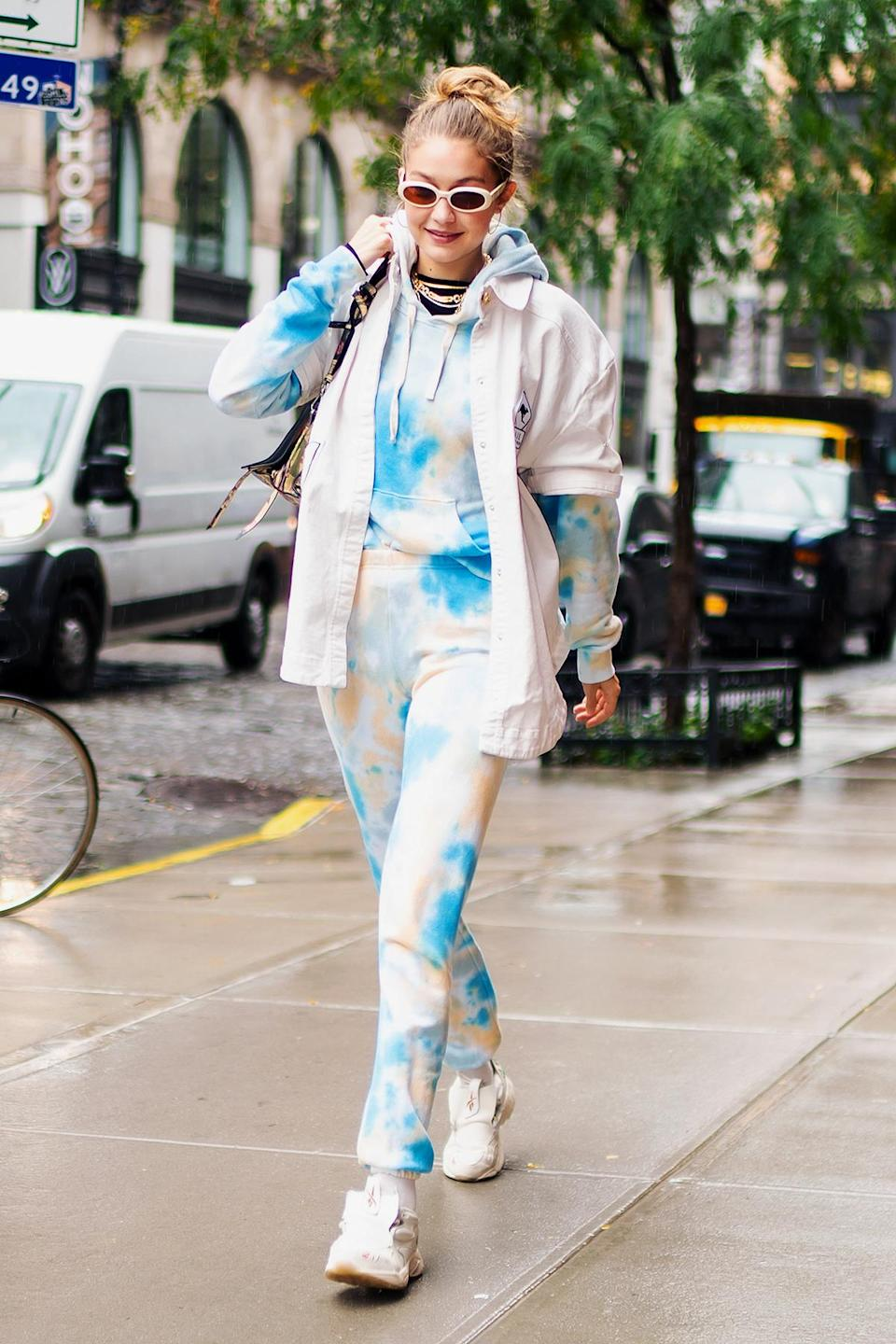 """<p>Thanks to its nostalgic vibe and DIY-ability, tie-dye became the official print of quarantine. Searches for it on Etsy surged 146 percent, and a slew of stars sported the trend, including Gigi Hadid rocking it from head-to-toe.</p> <p>If you still want to get in on the fun, we have everything you need to know about <a href=""""https://people.com/style/how-to-tie-dye-at-home/"""" rel=""""nofollow noopener"""" target=""""_blank"""" data-ylk=""""slk:DIY tie-dye, here"""" class=""""link rapid-noclick-resp"""">DIY tie-dye, here</a>. </p>"""