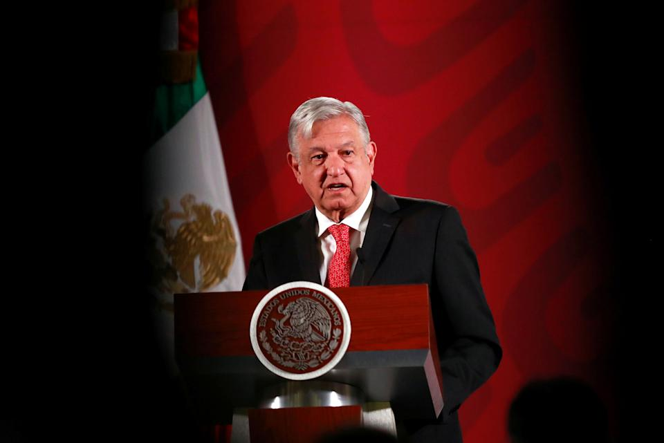 Mexico's President Andres Manuel Lopez Obrador holds a news conference at the National Palace in Mexico City, Mexico, March 17, 2020. REUTERS/Henry Romero