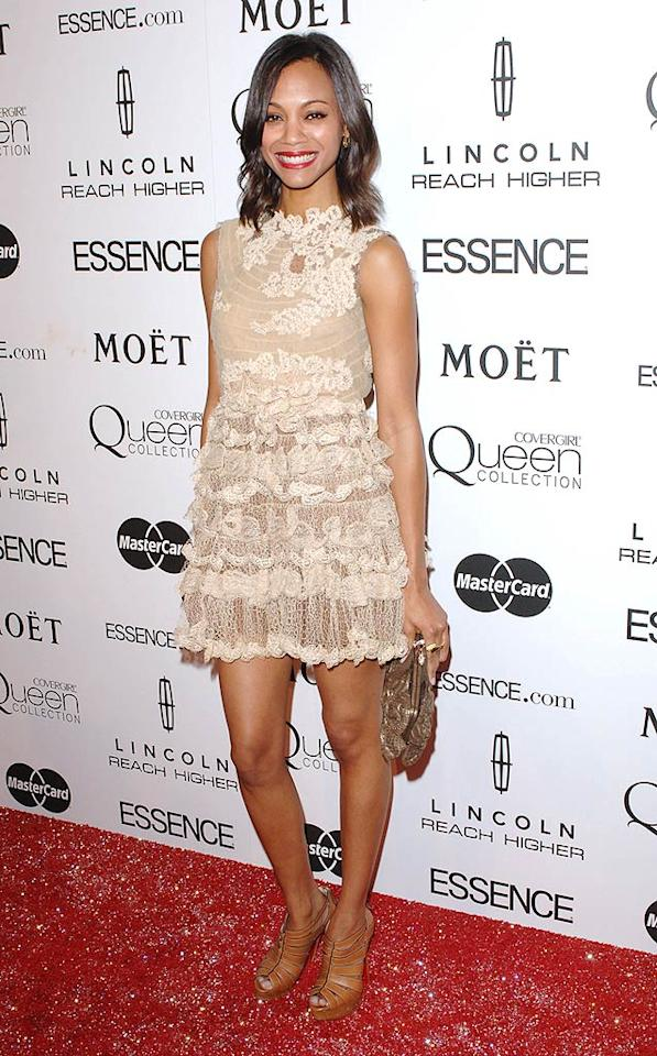 """""""Avatar's"""" Zoe Saldana -- who <i>Essence</i> named the Star to Watch -- looked lovely in lace. Craig Barritt/<a href=""""http://www.wireimage.com"""" target=""""new"""">WireImage.com</a> - March 4, 2010"""